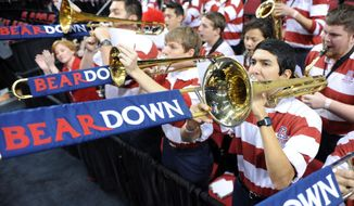 The Arizona band plays during the first half against Texas Southern in the second round of the NCAA college basketball tournament in Portland, Ore., Thursday, March 19, 2015. (AP Photo/Greg Wahl-Stephens)