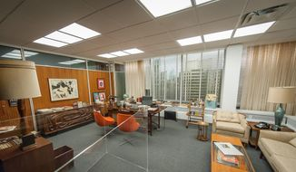 "The set for Don Draper's office, featured in seasons 4-6 of ""Mad Men,"" is displayed as part of the exhibition, ""Matthew Weiner's Mad Men,"" at the Museum of the Moving Image in New York in this March 10, 2015, file photo. The exhibit runs through June 14. The final episodes of the series will begin on April 5. (AP Photo/Museum of the Moving Image, Thanassi Karageorgiou)"