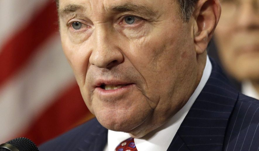 FILE - In this March 12, 2015, file photo, Utah Gov. Gary Herbert speaks during a news conference, at the Utah State Capitol, in Salt Lake City. Herbert said Thursday, March 19, 2015, that he's leaning toward signing a proposal that would make his state the only one to allow firing squad executions if lethal injection drugs are unavailable. Herbert says Utah is a capital punishment state and needs a backup method to carry out executions if a shortage of lethal injection drugs continues. (AP Photo/Rick Bowmer, File)