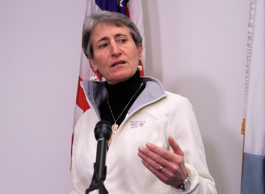 Interior Secretary Sally Jewell speaks in Anchorage, Alaska, on Feb. 17, 2015. (Associated Press) **FILE**