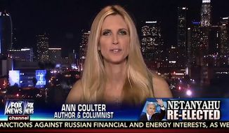 "Ann Coulter took to Fox News Thursday night to jab the network for fixating on how long it took President Obama to congratulate Israeli Prime Minister Benjamin Netanyahu for his re-election, asking: ""Has John Hinckley called to congratulate Ronald Reagan yet?"" (Fox News via Mediaite)"