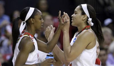 Maryland guard Laurin Mincy, left, high-fives teammate Brionna Jones in the second half of an NCAA college basketball game against New Mexico State in the first round of the NCAA tournament, Saturday, March 21, 2015, in College Park, Md. Mincy and Jones contributed a combined 41 points to Maryland's 75-57 win. (AP Photo/Patrick Semansky)