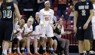 Princeton forward Leslie Robinson (45) reacts to an official's call in the first half of an NCAA college basketball game against Green Bay in the first round of the NCAA tournament, Saturday, March 21, 2015, in College Park, Md. Robinson is the niece of President Barack Obama, who was in attendance at the game. (AP Photo/Patrick Semansky)