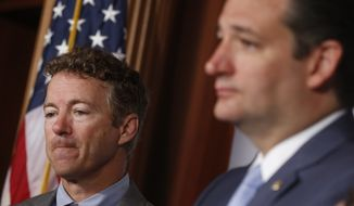 Sen. Ted Cruz of Texas (right) announced his candidacy for the White House on Monday, and fellow Sen. Rand Paul is planning an ambitious five-state, five-day rollout of his own starting April 7 in his home state of Kentucky. (Associated Press)