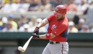 Washington Nationals' Sandy Leon connects for a two-run double during the second inning of a spring training exhibition baseball game against the Detroit Tigers in Lakeland, Fla., Sunday, March 22, 2015. (AP Photo/Carlos Osorio)