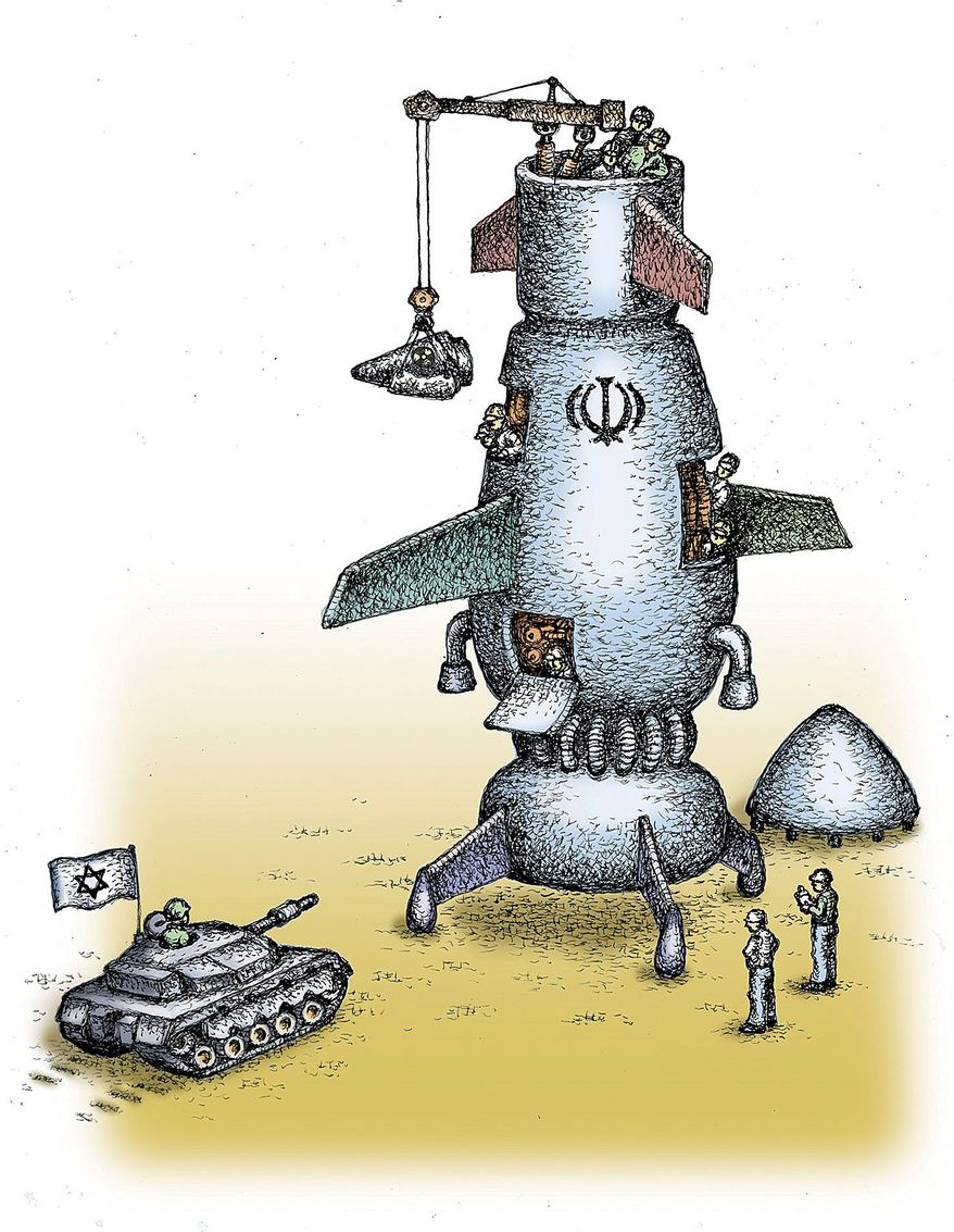 Illustration on the Iranian nuclear threat to Israel by Kevin Kreneck/Tribune Content Agency