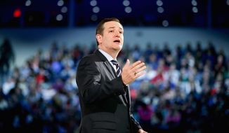 Sen. Ted Cruz, Texas Republican, speaks at Liberty University, founded by the late Rev. Jerry Falwell, Monday, March 23, 2015, in Lynchburg, Va., to announce his campaign for president. Cruz, who announced his candidacy on twitter in the early morning hours, is the first major candidate in the 2016 race for president. (AP Photo/Andrew Harnik) **FILE**