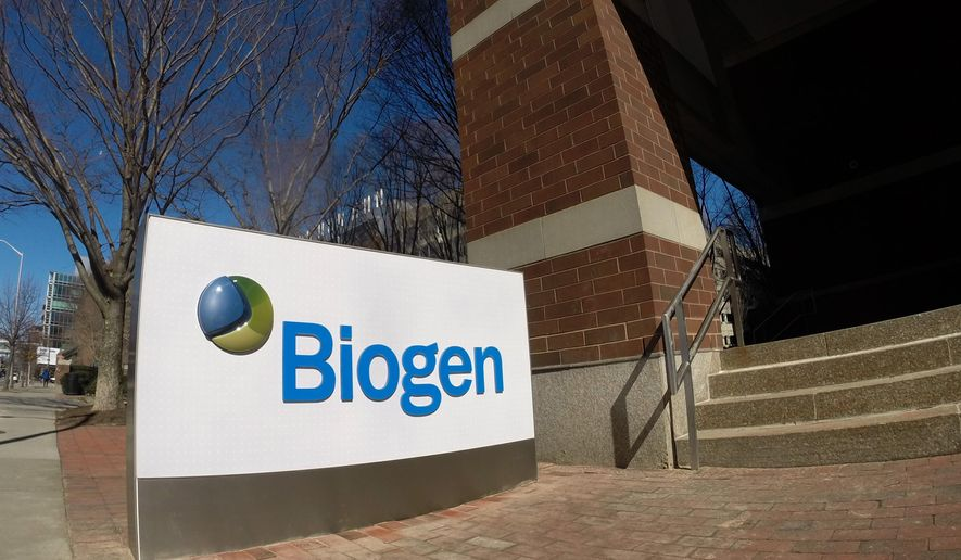This undated photo provided by Biogen shows new signage in front of one of the biotechnology company's buildings in Cambridge, Mass. Biogen Idec Inc. is shortening its name to just Biogen as of Monday, March 23, 2015. (AP Photo/Biogen)