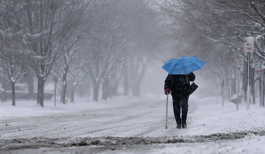 A woman walks with an umbrella during a snowstorm, Monday, March 23, 2015, in Niles, Ill. Spring snow hit just in time for the commute and could bring as much as 5 inches of snow in some parts of the Chicago area. (AP Photo/Nam Y. Huh)