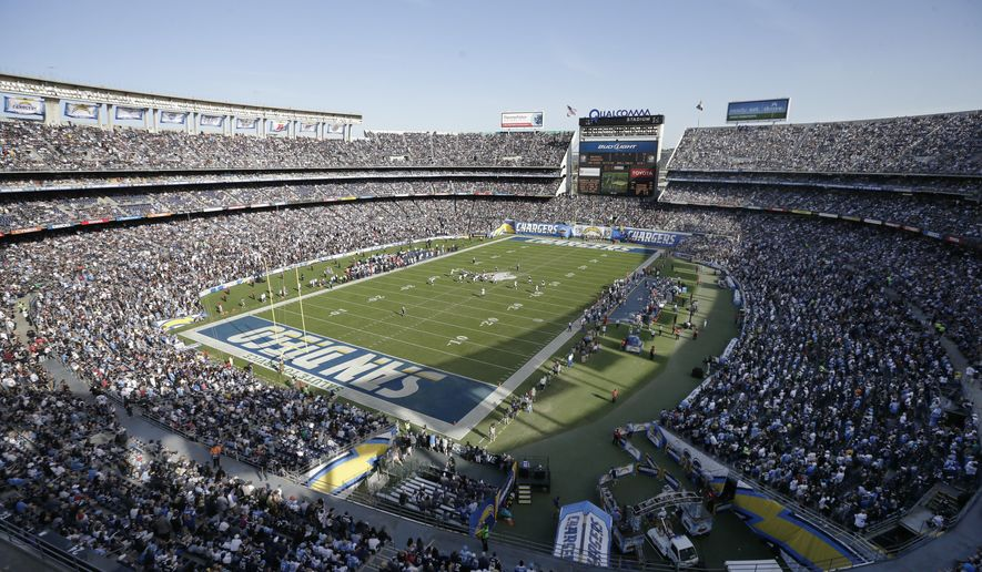 FILE - This is a Nov. 16, 2014, file photo showing a general view of the San Diego Chargers playing against the Oakland Raiders during the first half of an NFL football game at Qualcomm Stadium in San Diego. Members of Mayor Kevin Faulconer's advisory group are holding the line against Chargers point man Mark Fabiani, who has lobbied for a new stadium downtown even though the task force determined the best spot for a new home for the team is in the area where it plays now.(AP Photo/Gregory Bull, File)