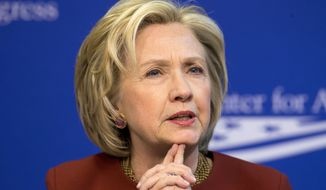 Former Secretary of State Hillary Rodham Clinton speaks at an event hosted by the Center for American Progress (CAP) and the America Federation of State, County and Municipal Employees (AFSCME), Monday, March 23, 2015, in Washington. (AP Photo/Pablo Martinez Monsivais) ** FILE **