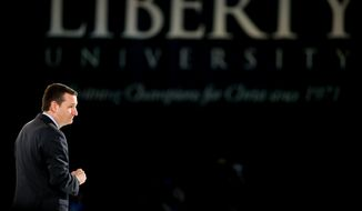 Sen. Ted Cruz, R-Texas announces his campaign for president, Monday, March 23, 2015, at Liberty University, founded by the late Rev. Jerry Falwell, in Lynchburg, Va. Cruz, who announced his candidacy on twitter in the early morning hours, is the first major candidate in the 2016 race for president. (AP Photo/Andrew Harnik)