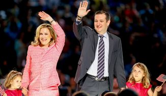 Sen. Ted Cruz, R-Texas, his wife Heidi, and their two daughters Catherine, 4, left, and Caroline, 6, right, wave on stage after he announced his campaign for president, Monday, March 23, 2015, at Liberty University, founded by the late Rev. Jerry Falwell, in Lynchburg, Va. Cruz, who announced his candidacy on twitter in the early morning hours, is the first major candidate in the 2016 race for president. (AP Photo/Andrew Harnik)