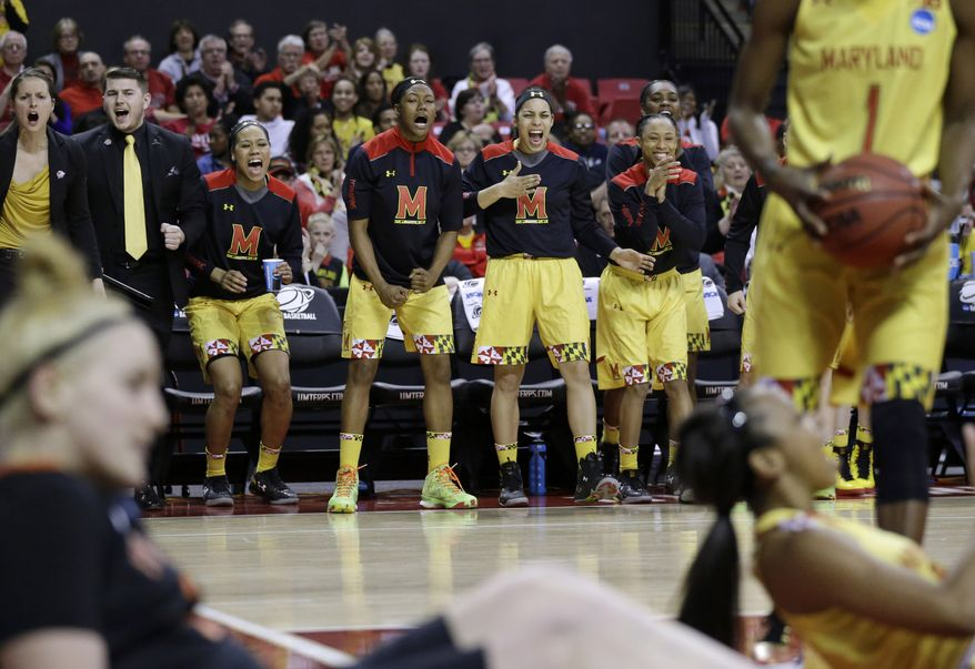 Maryland players react after Princeton received an offensive foul call in the first half of an NCAA college basketball game in the second round of the NCAA tournament, Monday, March 23, 2015, in College Park, Md. Maryland won 85-70. (AP Photo/Patrick Semansky)