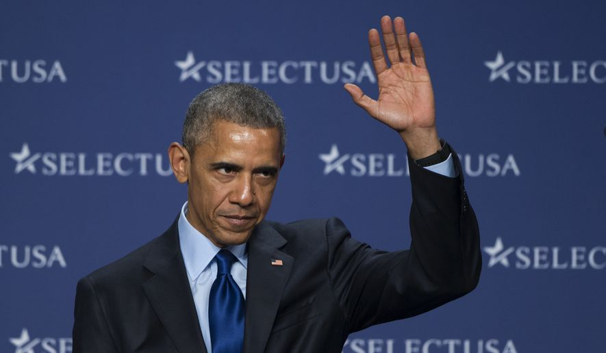 President Barack Obama waves after speaking at the SelectUSA Investment Summit, hosted by the Commerce Department, Monday, March 23, 2015, in National Harbor, Md. (AP Photo/Cliff Owen)