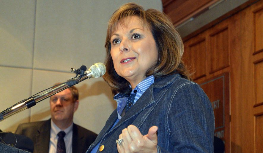 New Mexico Gov. Susana Martinez, a Republican, speaks at a news conference at the statehouse in Santa Fe following the end of a New Mexico's Legislative session Saturday, March 21, 2015. Partisan bickering prevented lawmakers from funding a variety of different state projects and left many bills on the floor and in committees. (AP Photo/Russell Contreras)