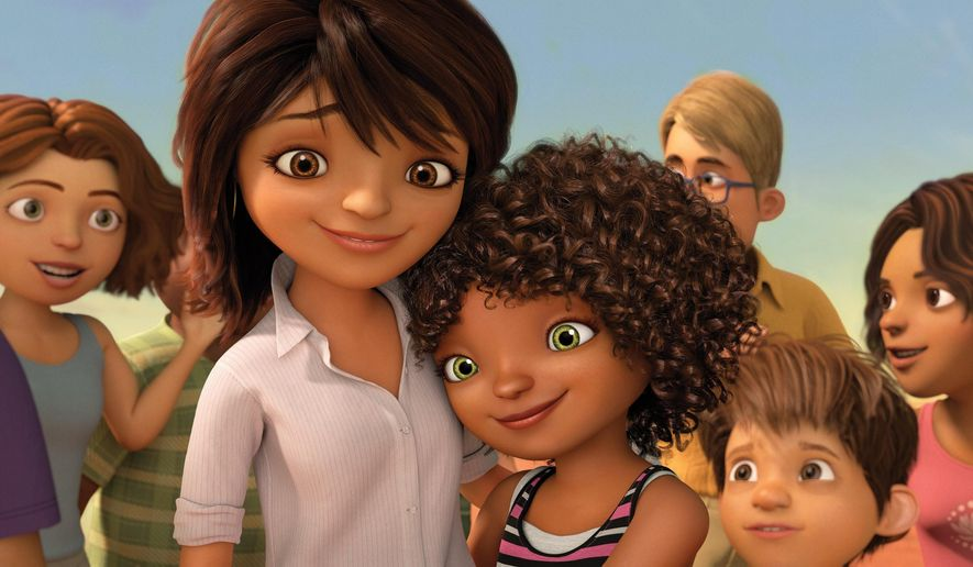 "In this image released by DreamWorks Animation, characters Lucy, voiced by Jennifer Lopez, left, and Tip, voiced by Rihanna appear in a scene from the animated film ""Home."" (AP Photo/DreamWorks Animation)"