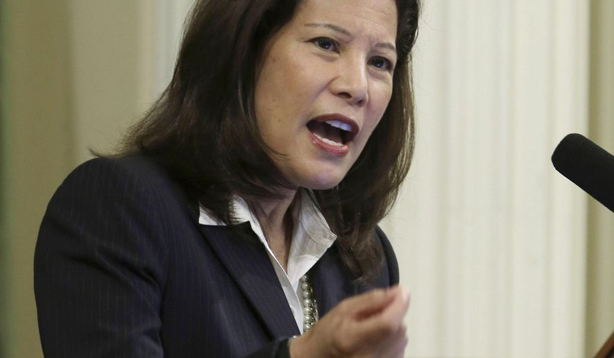 California Supreme Court Chief Justice Tani Cantil-Sakauye delivers her annual State of the Judiciary address before a joint session of the Legislature at the Capitol in Sacramento, Calif., Monday, March 23, 2015. (AP Photo/Rich Pedroncelli)