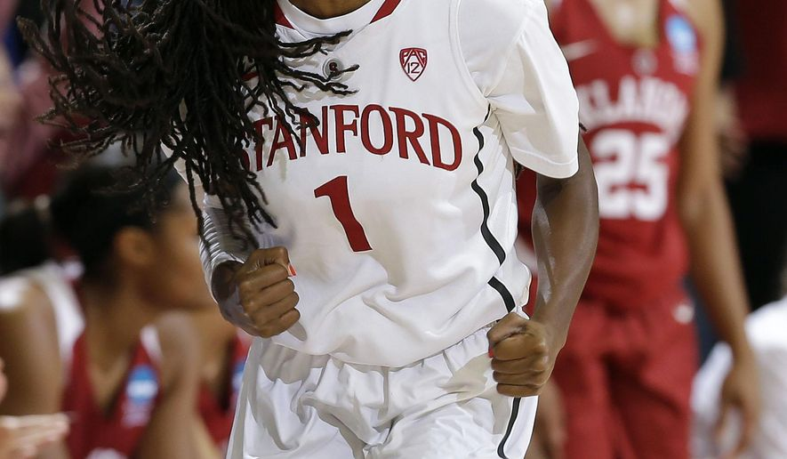 Stanford guard Lili Thompson (1) celebrates after scoring against Oklahoma during the first half of a women's college basketball game in the second round of the NCAA tournament Monday, March 23, 2015, in Stanford, Calif. (AP Photo/Marcio Jose Sanchez)