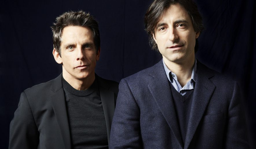 """While We're Young"" writer and director Noah Baumbach, right, poses for a portrait with lead Ben Stiller on Monday, March 23, 2015 in New York. (Photo by Dan Hallman/Invision/AP)"