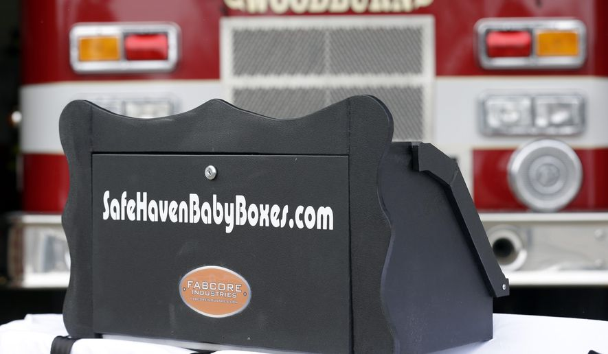 "FILE -  This Feb. 26, 2015 file photo shows a prototype of a baby box, where parents could surrender their newborns anonymously, outside the fire station in Woodburn, Ind.  An Indiana proposal to allow fire stations and other public places to install ""baby boxes"" so mothers in crisis could anonymously surrender their newborns needs further review and is unlikely to advance this year, a key lawmaker said Tuesday, May 24, 2015. Sen. Patricia Miller, whose Senate health committee is scheduled to hear the bill Wednesday, May 25, said she expects the bill to be amended to send it to study committees for further evaluation. (AP Photo/Michael Conroy, File)"