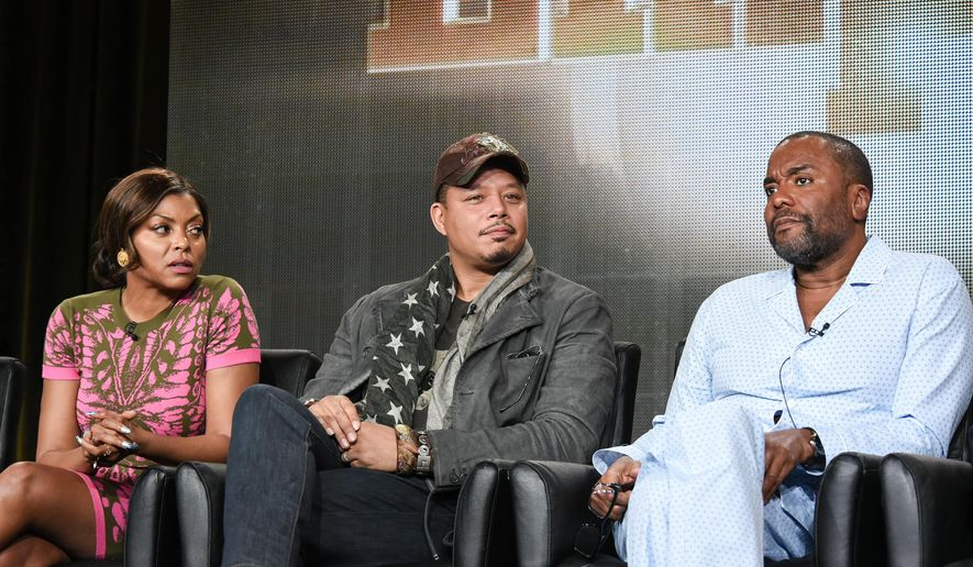 "FILE - In this Jan. 17, 2015 file photo, from left, actors Taraji P. Henson, Terrence Howard, and director Lee Daniels speak on stage during the ""Empire"" panel at the Fox 2015 Winter TCA, in Pasadena, Calif. Twentieth Century Fox Television sued record label Empire  Distribution Inc. in federal court in Los Angeles on Monday, March 23, 2015, in a dispute over use of title ""Empire"" for the network's hit television series starring Howard and Henson. (Photo by Richard Shotwell/Invision/AP, File)"