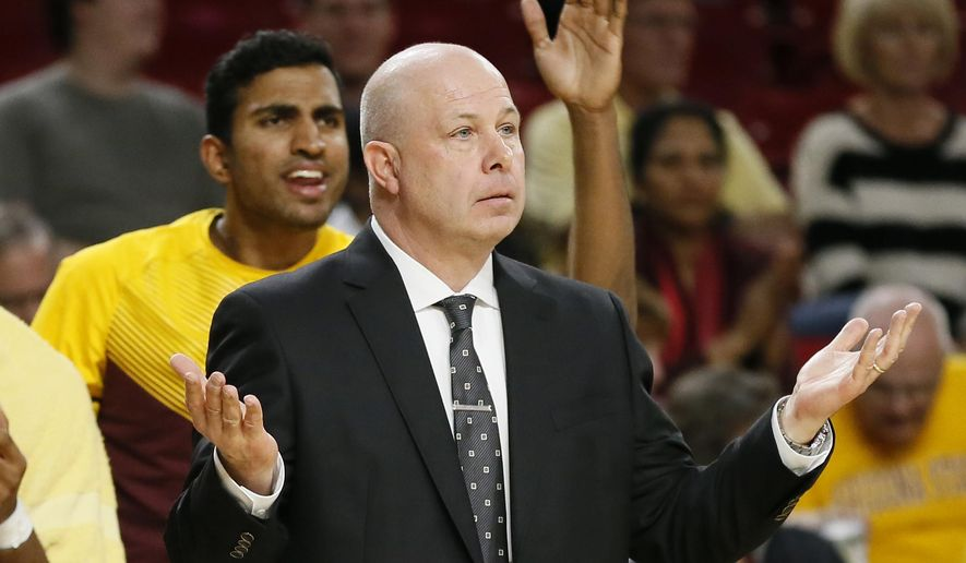 FILE - In this Jan. 15, 2015, file photo, Arizona State head coach Herb Sendek reacts to a call during the first half of an NCAA college basketball game against Utah in Tempe, Ariz. Arizona State has fired coach Herb Sendek, Tuesday, March 24, 2015,  after nine seasons as coach. (AP Photo/Matt York, File)