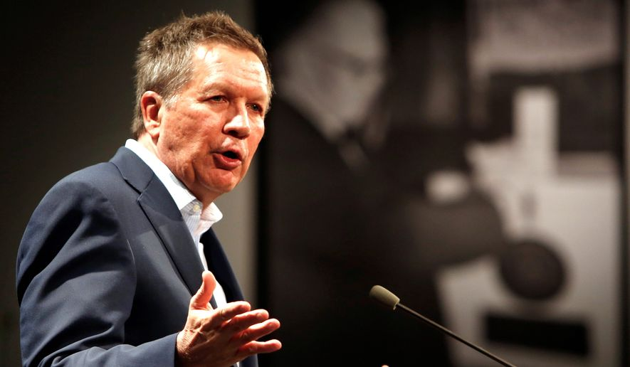 Ohio Gov. John Kasich speaks up at the Politics and Eggs breakfast in Manchester, New Hampshire. (Associated Press)