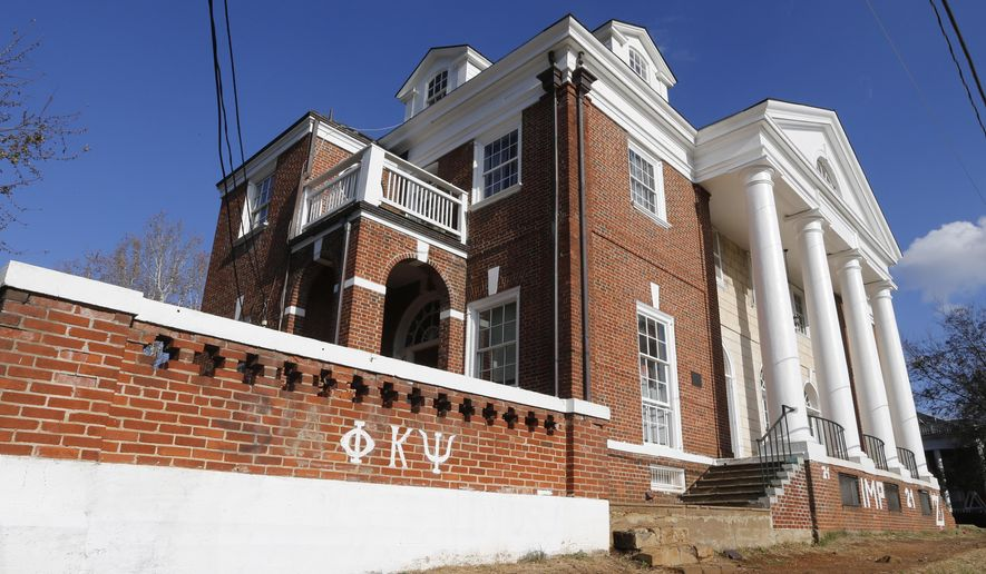 FILE-This Nov. 24, 2014 file photo shows the Phi Kappa Psi fraternity house at the University of Virginia in Charlottesville, Va. After a five-month police investigation into an alleged gang rape at the fraternity that Rolling Stone magazine described in graphic detail produced no evidence of the attack and was stymied by the accuser's unwillingness to cooperate, authorities said Monday, March 23, 2015. (AP Photo/Steve Helber, File)
