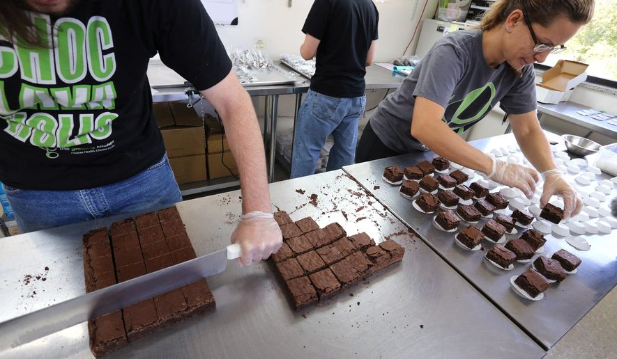FILE  - In this Sept. 26, 2014 file photo, smaller-dose pot-infused brownies are divided and packaged at The Growing Kitchen, in Boulder, Colo. A bill up for its first vote in the state legislature on Wednesday., March 25, 2015 would repeal a 2014 Colorado law requiring pot foods to have a distinct look when out of its packaging. (AP Photo/Brennan Linsley, File)