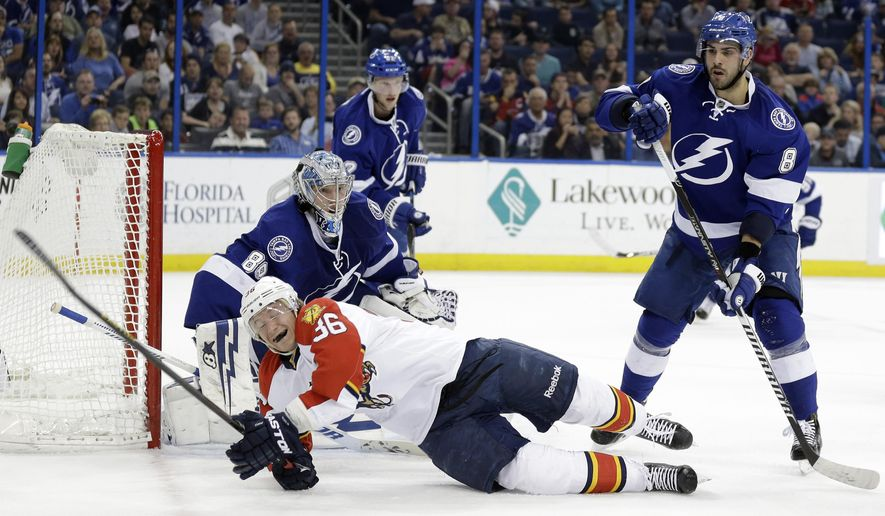 Florida Panthers left wing Jussi Jokinen (36), of Finland, gets knocked down on a check by Tampa Bay Lightning defenseman Mark Barberio (8) in front of Lightning goalie Andrei Vasilevskiy (88), of Russia, during the first period of an NHL hockey game Tuesday, March 24, 2015, in Tampa, Fla. (AP Photo/Chris O'Meara)