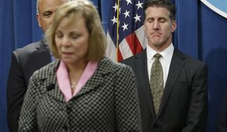 Dan Diaz, the husband of Brittany Maynard, right, closes his eyes as Maynard's mother, Debbie Ziegler, speaks in support of proposed legislation allowing doctors to prescribe life-ending medication to terminally ill patients during a news conference at the Capitol, Wednesday, Jan. 21, 2015, in Sacramento, Calif. Maynard, a 29-year-old San Francisco Bay Area woman who had terminal brain cancer, moved to Oregon where she could legally end her life. (AP Photo/Rich Pedroncelli)