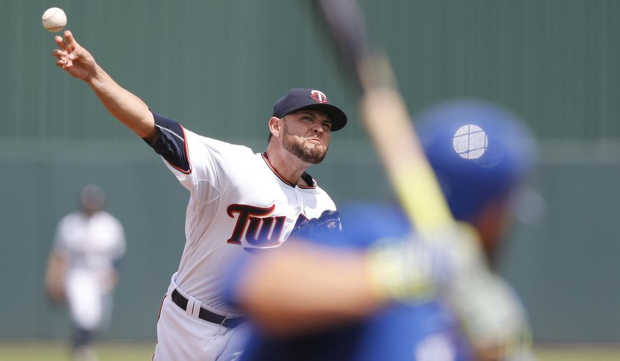 Minnesota Twins starting pitcher Ricky Nolasco (47) delivers against the Toronto Blue Jays in the first inning during an exhibition spring training baseball game, Tuesday, March 24, 2015, in Fort Myers, Fla. (AP Photo/Brynn Anderson)
