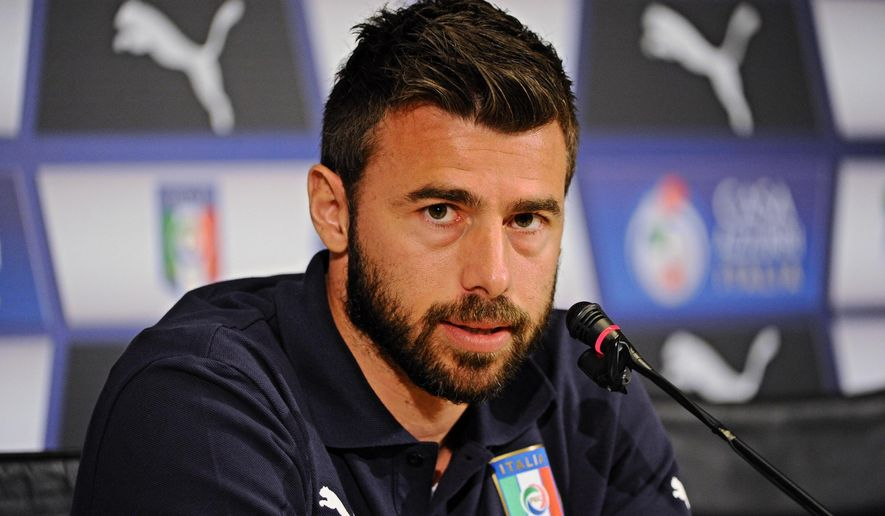 Italian player Andrea Barzagli meets the media ahead of Saturday's Euro 2016, Group H qualifying soccer match against Bulgaria, at the Coverciano training center, near Florence, Italy, Tuesday, March 24, 2015. (AP Photo/Maurizio Degli Innocenti, Ansa)