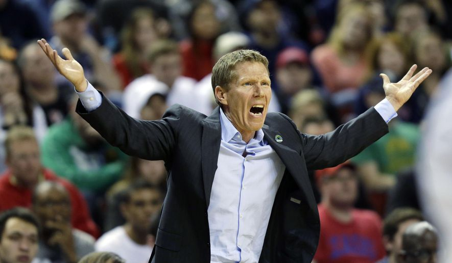 Gonzaga head coach Mark Few reacts to a play against Iowa during the second half of an NCAA tournament college basketball game in the Round of 32, Sunday, March 22, 2015, in Seattle. Gonzaga beat Iowa 87-68. (AP Photo/Ted S. Warren)
