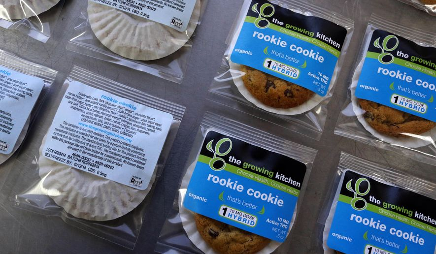 In this Sept. 26, 2014, file photo, smaller-dose pot-infused cookies, called the Rookie Cookie, sit on the packaging table at The Growing Kitchen, in Boulder, Colo. (AP Photo/Brennan Linsley, File)