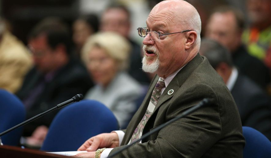 Nevada Assemblyman Randy Kirner, R-Reno, testifies on his proposal to dramatically change collective-bargaining rules for public employee unions in a hearing at the Legislative Building in Carson City, Nev., Wednesday, March 25, 2015. (AP Photo/Cathleen Allison)