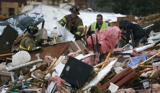 First responders work to free a man from a pile of rubble after a round of severe weather hit a trailer park near 145th West Avenue and West 17th Street in Sand Springs, Okla., Wednesday, March 25, 2015. The slow start to the nation's tornado season came to a blustery end Wednesday when tornadoes hit Arkansas and Oklahoma. (AP Photo/Tulsa World, Matt Barnard)