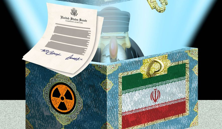 Illustration on the Cotton letter's impact on nuclear talks with Iran by Alexander Hunter/The Washington Times
