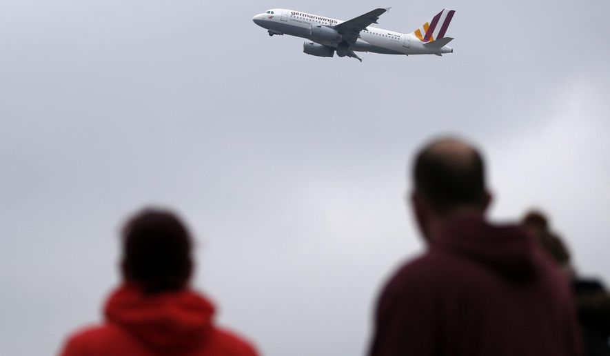 A Germanwings plane takes off at the airport in Duesseldorf, Wednesday March 25, 2015.  the day after a Germanwings aircraft crashed in France on the way from Barcelona, Spain,  to Duesseldorf, Germany, killing 150 people.   (AP Photo Frank Augstein)