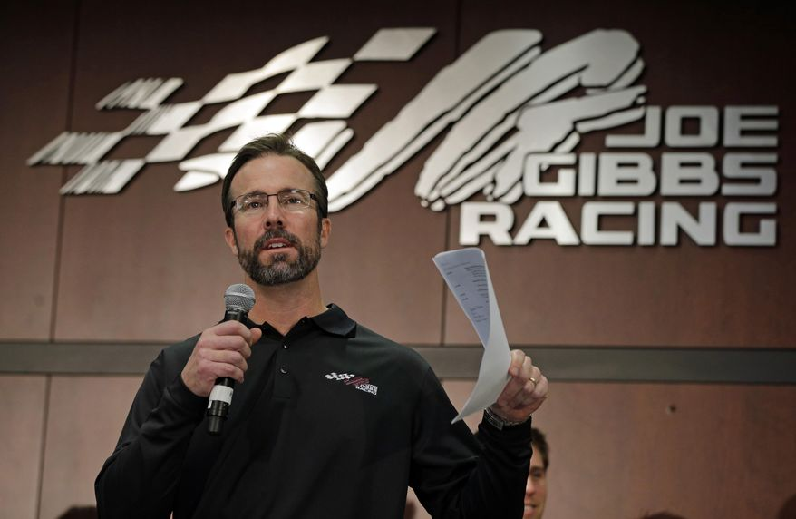 "FILE - In this Jan. 24, 2013, file photo, team president J.D. Gibbs speaks to the media during a news conference at Joe Gibbs Racing in Huntersville, N.C. Joe Gibbs Racing President J.D. Gibbs is undergoing treatment for ""symptoms impacting areas of brain function."" The 46-year-old Gibbs is the oldest son of team owner Joe Gibbs, the Hall of Fame coach who won three Super Bowls with Washington. The team said in a statement on Wednesday, March 25, 2015,  that J.D. Gibbs has undergone a series of tests since experiencing ""speech and processing issues.""  (AP Photo/Chuck Burton, File)"