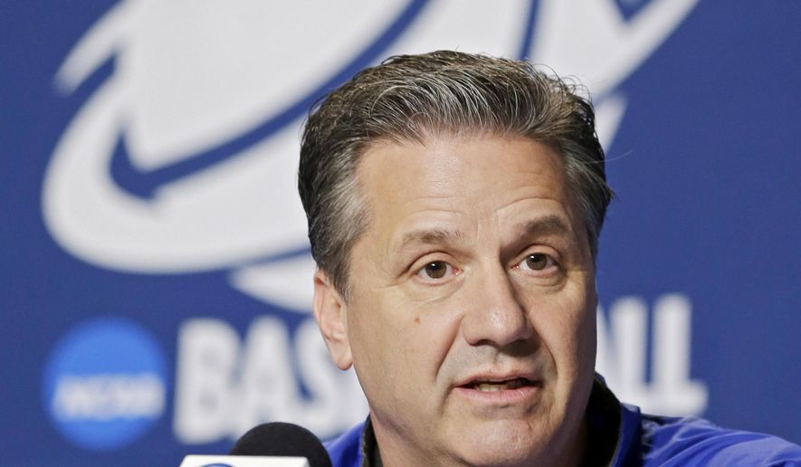 Kentucky head coach John Calipari answers a question during a news conference before practice at the NCAA college basketball tournament in Cleveland, Wednesday, March 25, 2015. Kentucky plays West Virginia in a regional semifinal on Thursday. (AP Photo/Mark Duncan)