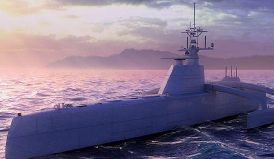 A digital rendering of DARPA's ACTUV ship. (Image: Leidos)