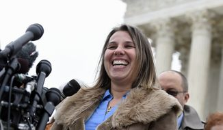 FILE - In this Dec. 3, 2014 file photo, Peggy Young, a Virginia woman who lost her UPS job because she became pregnant, speaks to reporters outside the Supreme Court in Washington. The Supreme Court is giving the former UPS driver another chance to prove her claim of discrimination after the company did not offer her lighter duty when she was pregnant. The justices on Wednesday sided with former driver Peggy Young in throwing out lower court rulings that rejected Young's lawsuit.  (AP Photo/Susan Walsh)