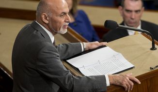Afghanistan's President Ashraf Ghani speaks before a joint meeting of Congress on Capitol Hill in Washington, Wednesday, March 25, 2015. (AP Photo/Pablo Martinez Monsivais)