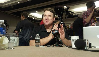 Washington Redskins coach Jay Gruden listens to a question as part of the NFC coaches' breakfast at the owners' meetings on Wednesday, March 25, 2015 at the Arizona Biltmore hotel in Phoenix. (Zac Boyer/The Washington Times)