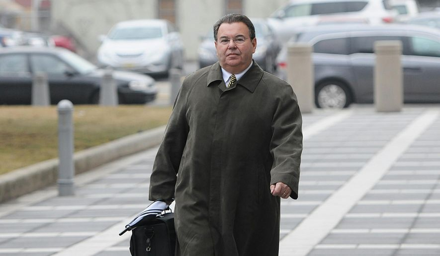 Joseph A. Ferriero arrives for the racketeering trial at the federal courthouse in Newark, NJ on Thursday, March 26, 2015. The defense began presenting witnesses Thursday afternoon in the racketeering trial of Ferriero, the former Bergen County Democratic leader, after asking U.S. District Judge Esther Salas to dismiss the case for lack of evidence. Prosecutors, rested their case Thursday morning after calling 21 witnesses over the last five weeks. (AP Photo/Northjersey.com, Mitsu Yasukawa)