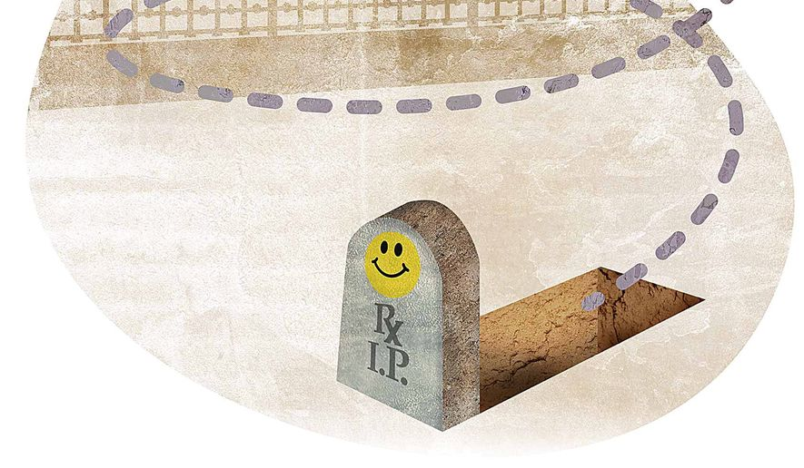 Obamacare in a death spiral illustration by Greg Groesch/The Washington Times