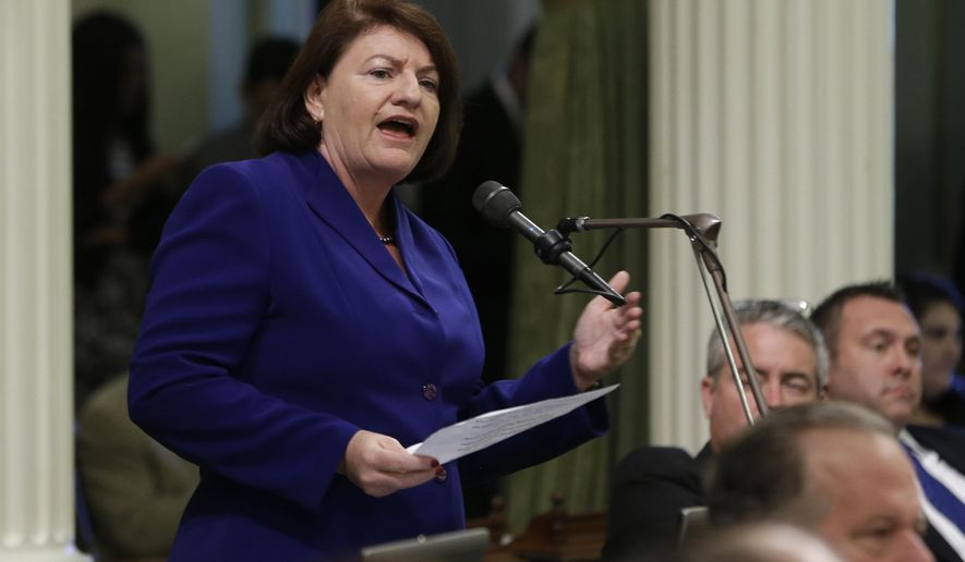 Assembly Speaker Toni Atkins, D-San Diego, urged  lawmakers to approve a plan to pump $1 billion of water spending into drought-stricken California at the Capitol in Sacramento, Calif., Thursday March 26, 2015. The Assembly passed AB91 unanimously, 74-0 and sent the bill to Gov. Jerry Brown, who is expected to sign the legislation.(AP Photo/Rich Pedroncelli)