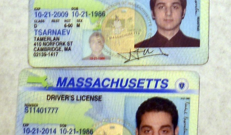 This undated forensics photograph made by the FBI, released by the U.S. Attorney's office and presented as evidence during the federal death penalty trial of Dzhokhar Tsarnaev Wednesday, March 25, 2015, in Boston, shows Massachusetts driver's licenses of his brother Tamerlan Tsarnaev. Dzhokhar Tsarnaev is charged with conspiring with Tamerlan Tsarnaev to place two bombs near the Boston Marathon finish line that killed three and injured more than 260 spectators in April 2013. Tamerlan died days after the bombing when he was wounded during a gun battle with police and run over by Dzhokhar as he escaped. (AP Photo/U.S. Attorney's Office)